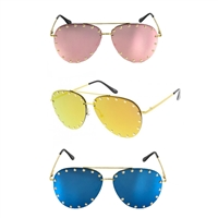 Soiree 60MM Mirrored Studded Aviator Sunglasses