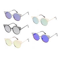 Fleur Cut Out Round Cat Eye Mirrored Sunglasses