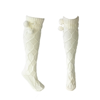 Fashion Culture Pom Pom Cable Knit Knee High Socks