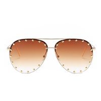 Unisex Affair Studded Aviator Sunglasses Ombre Lens