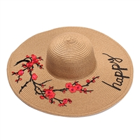 Fashion Culture 'Happy' Floral Applique Wide Brim Sun Hat