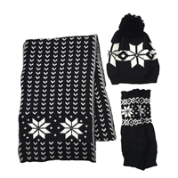 Snowflake Scarf, Beanie Hat & Fingerless Glove 3 Pcs Set,