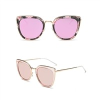 Mara Polarized Mirrored Lens Wire Cat Eye Sunglasses