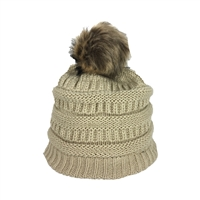 Fashion Culture Knit Pom Pom Fleece Lined Beanie Hat