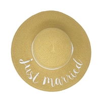 Just Married Honeymoon Floppy Straw Sun Hat
