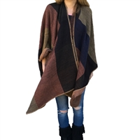 Colorblock Knit Poncho Cape