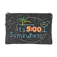 From St Xavier It's 5 O'Clock Somewhere Sequin Clutch, Black