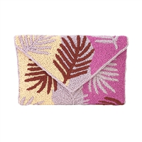 From St Xavier Miami Palm Leaf Clutch Crossbody