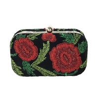 From St Xavier Sangria Rose Beaded Box Clutch
