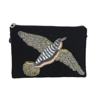 From St Xavier Eve Bird Beaded Velvet Clutch