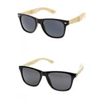 Indi Bamboo Wood WRetro Square Sunglasses
