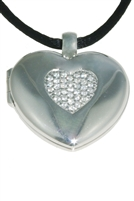 Giorgio Martello Silver & Zirconia Heart Locket