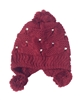 Studded Bow Pom Pom Knit Hat