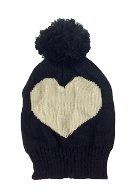 Heart Pom Pom Knit Hat