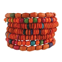 Willow Wood Beaded Wide Coil Bracelet