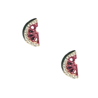 Watermelon Slice Pave Stud Earrings