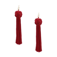 Jewelry Collection Taya Knot Tassel Drop Earrings, Black
