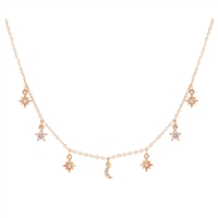 Pave Moon & Stars Choker Necklace