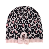 Kate Spade Cheetah Knit Bow Beanie Hat
