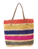 Michael Stars Straight Shot Straw Tote Beach Bag