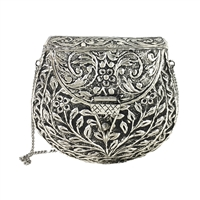 From St Xavier Silva Embossed Metal Minaudiere Bag