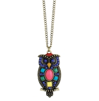 Zad Jewelry Wise Owl Colorful Pendant Long Necklace