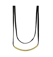 Zad Jewelry 'Nyx' Gold Bar Double Layer Suede Choker