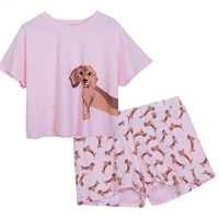 Dachshund Pajama Lounge Shorts & Crop Top Set