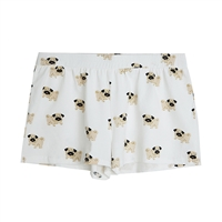 Pug Dog Print Pajama Lounge Shorts