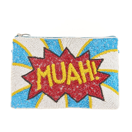 From St Xavier Blanche Muah Beaded Clutch