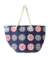 Magid Nautical Sailor Print Straw Tote Beach Bag