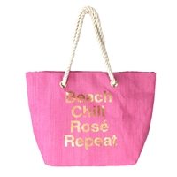 Beach Chill Rosé Repeat Beach Bag Packable Large Tote