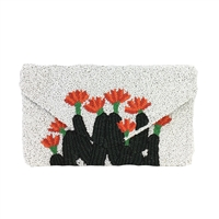 Clutch Me By Q Cactus Flower Beaded Envelope Clutch
