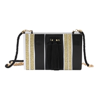 isti Drayton Glitter Stripe Box Clutch