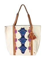 PilyQ Sunbeam Embroidered Tassel Tote