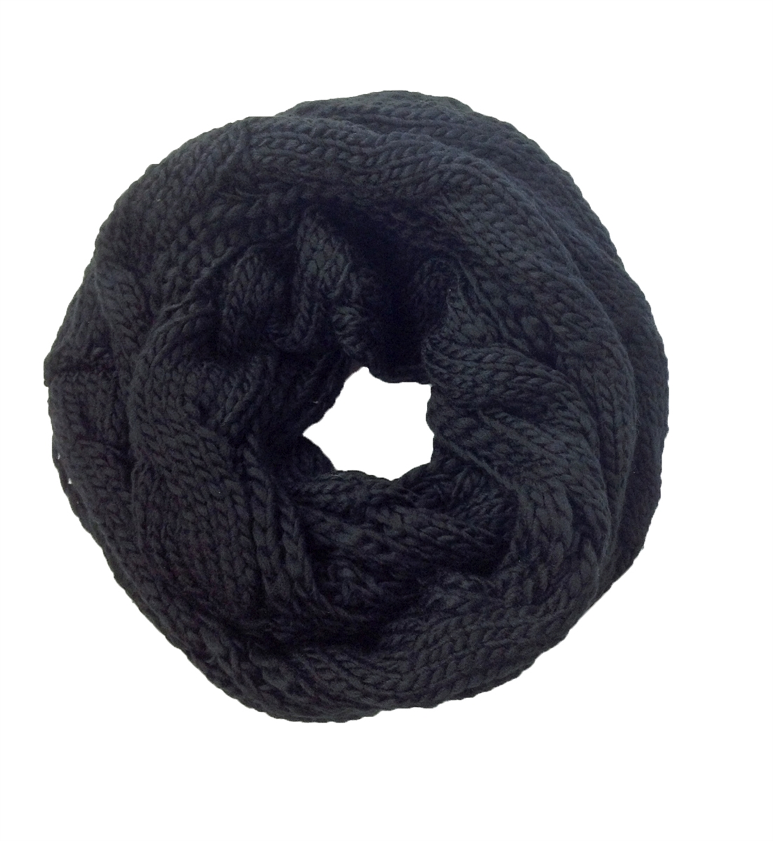 Cable Knit Infinity Scarf Knitting Pattern : Cambridge Classic Cable Knit Infinity Scarf, Black