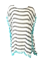 Striped Tassel Caftan Kaftan Swim Cover Up