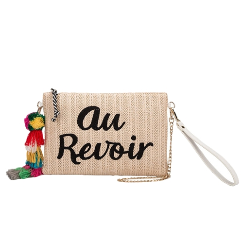 Melie Bianco St. Tropez Au Revior Straw Clutch