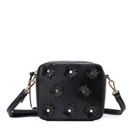 Melie Bianco Lauren Flower Applique Vegan Leather Crossbody