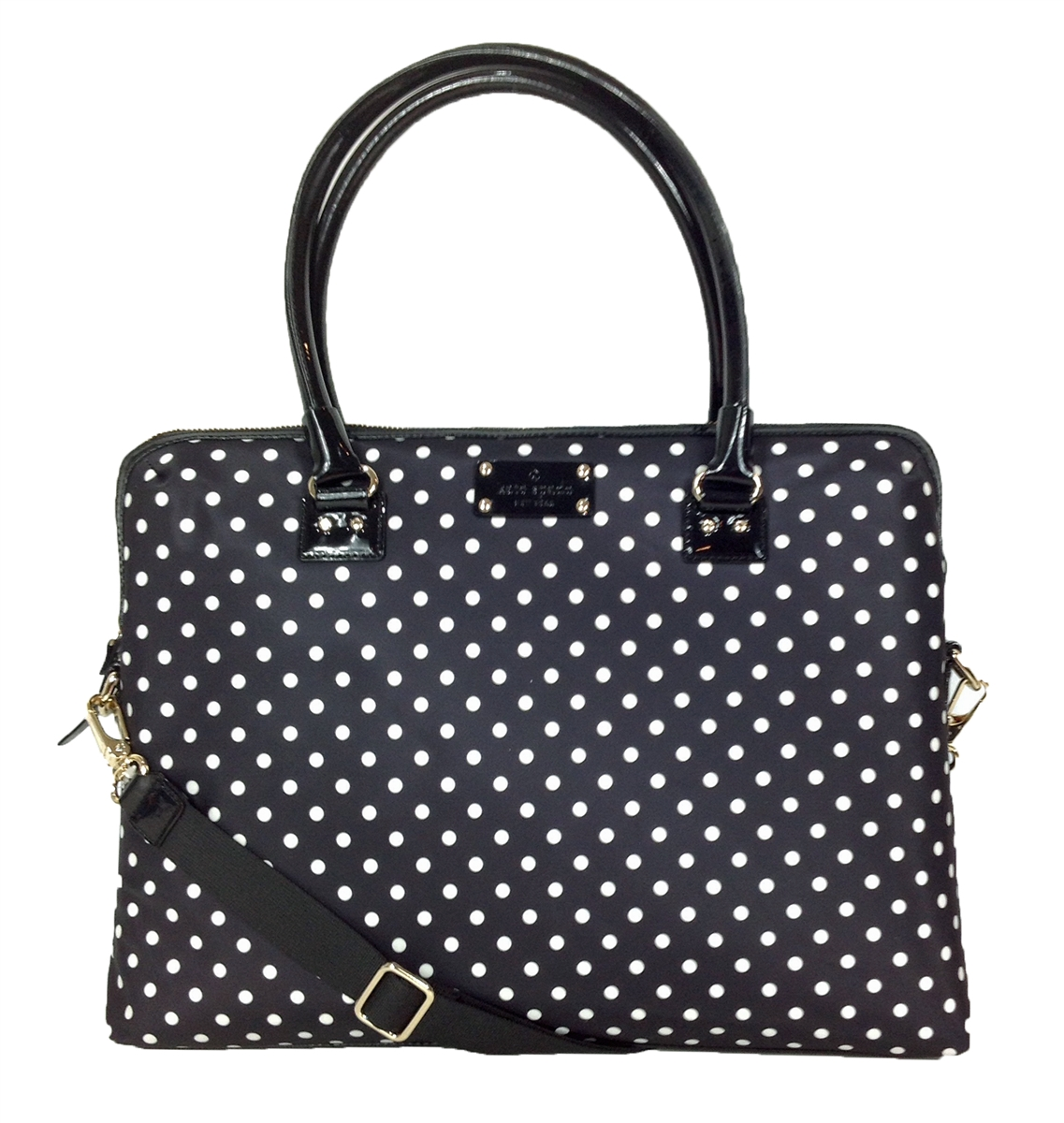 Kate spade new york spot nylon calista laptop bag black polka dot junglespirit Gallery