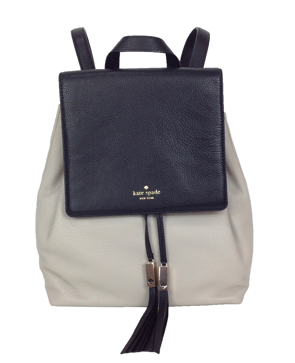 kate spade grey wilder leather backpack clocktower