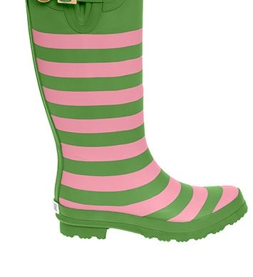 Stripe Rain boots pink and green