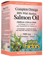 Complete Omega 100% Wild Alaskan Salmon Oil 1300 mg-90 Softgels