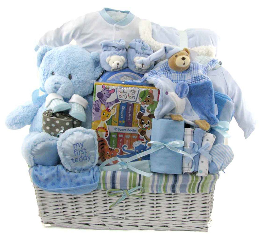Baby Gift Ideas For Clients : Deluxe baby boy gift basket glitter baskets