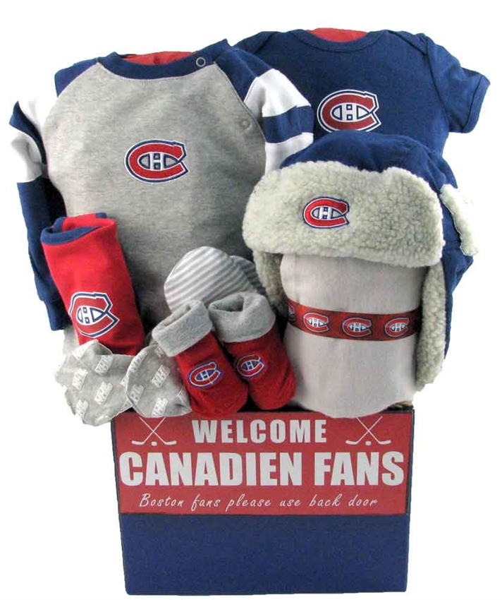 Baby Gift Baskets Montreal : Montreal canadiens basket with piggy bank glitter gift