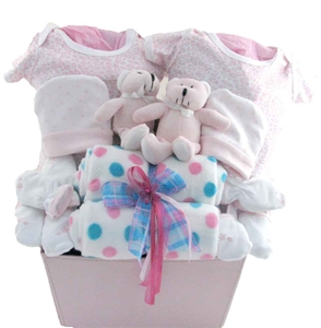 Girls twins baby gift basket