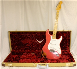 Fender Custom Shop 1955 Heavy Relic Stratocaster - Aged Coral Pink Over Chocolate 2 Tone Sunburst