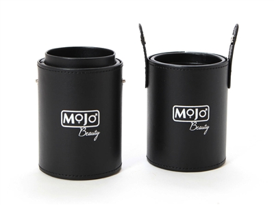 Black Cylinder Brush Case With Silver Mojo Beauty Imprint - Travel