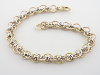 BLD2345 18k Rose & Yellow Gold Diamond Bracelet