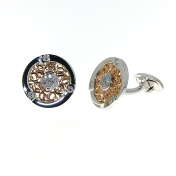 CUF01008 18k Rose & White Gold Diamond Cuff Links